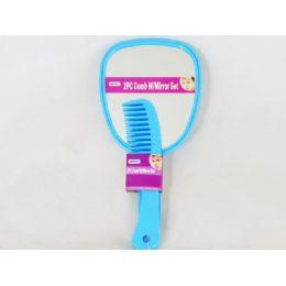 60 Bulk Comb 2pc W/mirror Set 2 Asst Color Blue & Pink