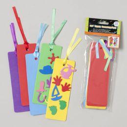 96 Bulk Bookmarks Foam 10pk Diy Craft 2x6 Asst Color W/satin Ribbon