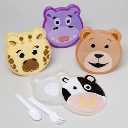 72 Bulk Lunch Box Set Animal Face Shape W/cutlery 4asst Shrink/label