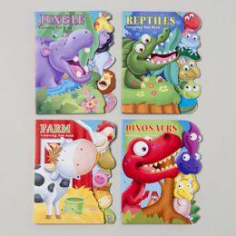 48 Bulk Board Books Learning Tab 4 Asst Farm,jungle,reptile & Dinosaurs In Pdq