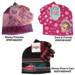 24 Bulk Assorted Dora And Friends Disney Pixar's Cars And Disney Princess Hat And Gloves Sets