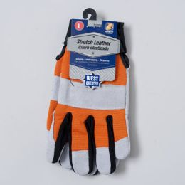 48 Bulk Gloves Stretch Leather Large Spandex Back Grey/orange