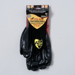 96 Bulk Gloves Wet/oil Grip Black One Size Fits Most