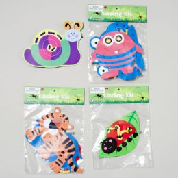 144 Bulk Lacing Kit 3asst Styles Paper & Yarn Set Gov Logo Polybag W/header