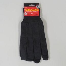 48 Bulk 10in 100% Polyester Brown Jersey Work Gloves