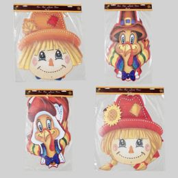 96 Bulk Cutout Harvest Jointed 36in 4asst Turkey Or Scarecrow Gov Harvest Polybag/hdr