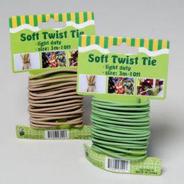 96 Bulk Soft Twist Tie 10ft 3mm Green Or Tan On 12pc Merchstrip Gov Garden Tie On Card