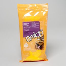 96 Bulk Amigo For Dogs & Cats Cleansing Towels 7ct Heavy Duty