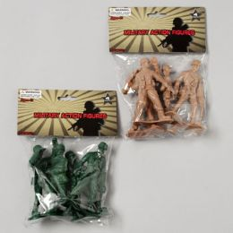 96 Bulk Military Figure Playset 4pk 4in Soldiers 2ast Color