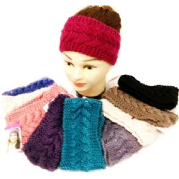 36 Bulk Knitted Ear Band Headband Solid Color Assorted