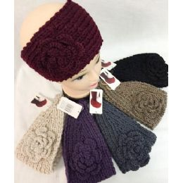 36 Bulk Solid Knitted Flower Headband Dark Assortments