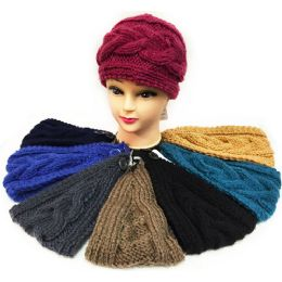 24 Bulk Solid Color Interchange Pattern Knitted Headband Ast