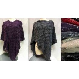 12 Bulk Knitted Poncho Block Textured Assorted
