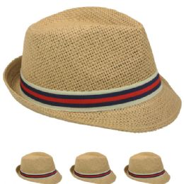 48 Bulk Tan Color Fedora Hat With Two Color Band