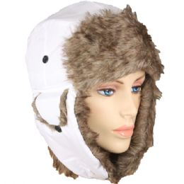 48 Bulk Solid White Trapper Hat With Faux Far Lining And Strap