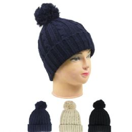 36 Bulk Woman Winter Hat With Pom Pom In Assorted Color