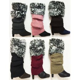 24 Bulk Knitted Faux Leopard Printed Fur Bootcover Leg Warmer