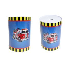 48 Bulk Fire Truck Tin Saving Bank