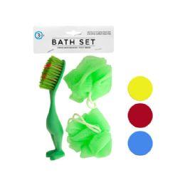 72 Bulk Bath Sponges & Foot Brush Set