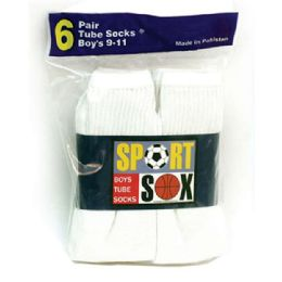 30 Bulk Boy's White Tube Socks Size 4-6