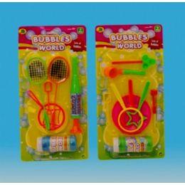 144 Bulk Bubble Fun Set In Blister Card 3 Asst