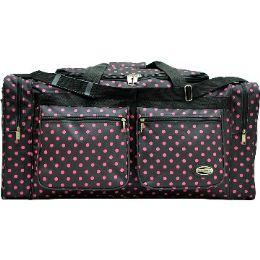 "12 Bulk ""E-Z Tote"" 30"" Black With Pink Polka Dots Duffel Bag"