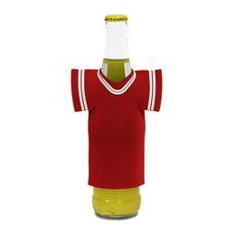 """72 Bulk Jersey Foam Bottle Holder 4""""x 5"""" Red"""