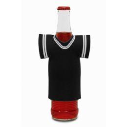 """72 Bulk Jersey Foam Bottle Holder 4""""x 5"""" Black"""