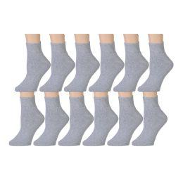 60 Bulk Yacht & Smith Kids Cotton Quarter Ankle Socks In Gray Size 6-8