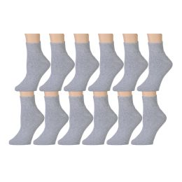 60 Bulk Yacht & Smith Men's Cotton Sport Ankle Socks Size 10-13 Solid Gray