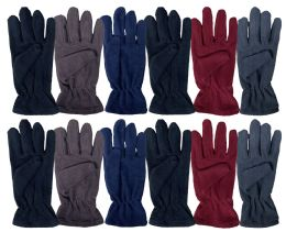 24 Bulk Yacht & Smith Mens Double Layer Fleece Gloves Packed Assorted Colors