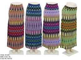 96 Bulk Women's Long Colorful Patterned Skirt In Assorted Colors