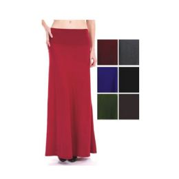 96 Bulk Womens Long Solid Color Skirts In Assorted Colors