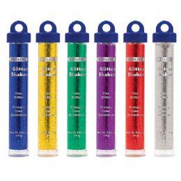 72 Bulk Bazic 22g / 0.77 Oz. Primary Color Glitter Shaker W/ Pdq