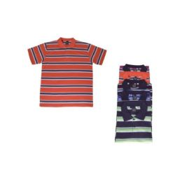 36 Bulk Mens Striped Tee Shirts Assorted Color