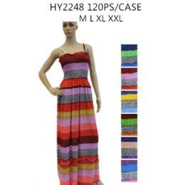 48 Bulk Ladies Long Summer Sun Dresses Stripes Assorted Colors