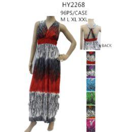48 Bulk Ladies Long Summer Sun Dresses Assorted Colors