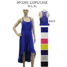 36 Bulk Women's High Low Solid Color Sundress