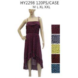 48 Bulk Women's High Low Polka Dot Sundress Assorted Color