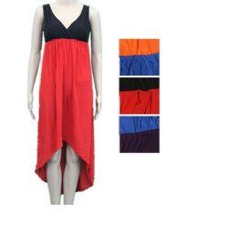 48 Bulk Womens Fashion Solid Color Sun Dresses