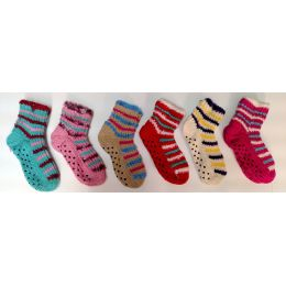 72 Bulk Kids Gripper Bottom Sweater Socks, With Fuzzy Trimming