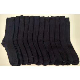 120 Bulk Boys Navy Ribbed Dress Socks, Size 9-11