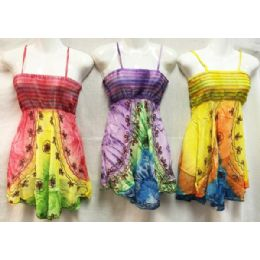12 Bulk Girls Rayon Tie Dye Dresses With Smocked Top Assorted Size Small