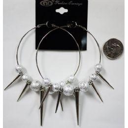 96 Bulk Silver Colored Big Loop With Spike Earring