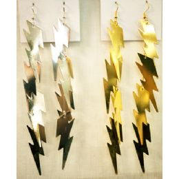 96 Bulk Gold And Silver Colored Lighting Bolt Shaped Earring