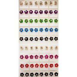 108 Bulk Flower Shaped Rhinestone Center Earring Studs