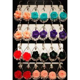96 Bulk Flower Shaped Dangling Earrings Assorted Color