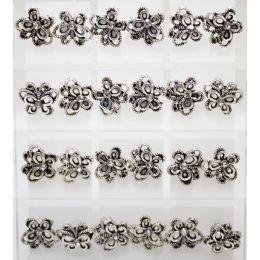 96 Bulk Silver Colored Butterfly Earrings