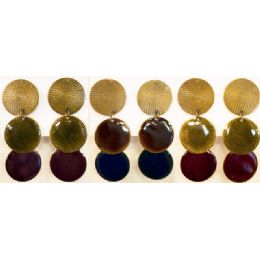 96 Bulk Round Shaped Dangling Earring Assorted Colors