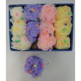 36 Bulk Mesh Bath Sponge With Pompoms